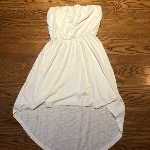 White strapless high/low dress
